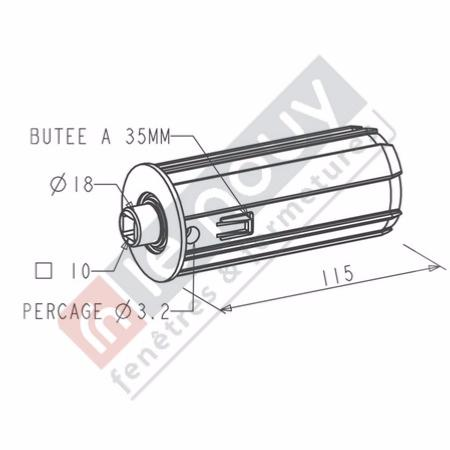Embout escamotable ZF 54 TETON Diamètre 18 / CARRE 10