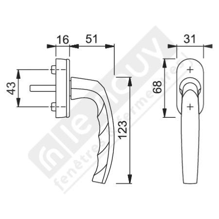poign e de fen tre en aluminium 7x9 f9 secustik pour fen tre ouverture oscillo battant. Black Bedroom Furniture Sets. Home Design Ideas
